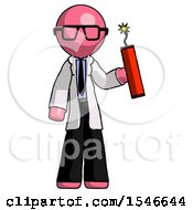 Pink Doctor Scientist Man Holding Dynamite With Fuse Lit