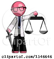 Pink Doctor Scientist Man Justice Concept With Scales And Sword Justicia Derived
