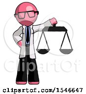 Pink Doctor Scientist Man Holding Scales Of Justice