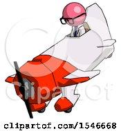 Pink Doctor Scientist Man In Geebee Stunt Plane Descending View