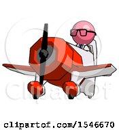Pink Doctor Scientist Man Flying In Geebee Stunt Plane Viewed From Below