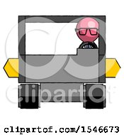 Pink Doctor Scientist Man Driving Amphibious Tracked Vehicle Front View