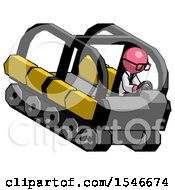Pink Doctor Scientist Man Driving Amphibious Tracked Vehicle Top Angle View