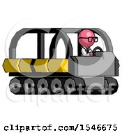 Pink Doctor Scientist Man Driving Amphibious Tracked Vehicle Side Angle View