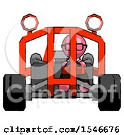 Pink Doctor Scientist Man Riding Sports Buggy Front View