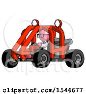 Pink Doctor Scientist Man Riding Sports Buggy Side Angle View