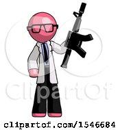 Pink Doctor Scientist Man Holding Automatic Gun