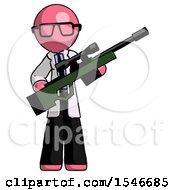 Pink Doctor Scientist Man Holding Sniper Rifle Gun