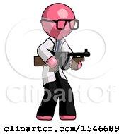 Pink Doctor Scientist Man Tommy Gun Gangster Shooting Pose