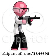 Pink Doctor Scientist Man Shooting Automatic Assault Weapon