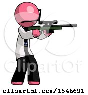Pink Doctor Scientist Man Shooting Sniper Rifle