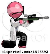 Pink Doctor Scientist Man Kneeling Shooting Sniper Rifle