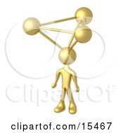 Golden Employee With Atoms On His Head Symbolizing A Genius Ideas Crativity And Brainstorming