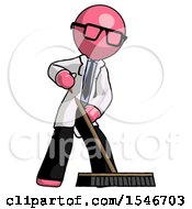 Pink Doctor Scientist Man Cleaning Services Janitor Sweeping Floor With Push Broom