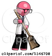 Pink Doctor Scientist Man Sweeping Area With Broom