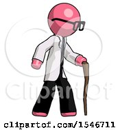 Pink Doctor Scientist Man Walking With Hiking Stick