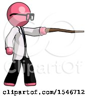 Pink Doctor Scientist Man Pointing With Hiking Stick