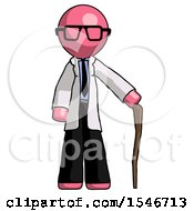 Pink Doctor Scientist Man Standing With Hiking Stick