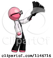 Pink Doctor Scientist Man Dusting With Feather Duster Upwards