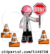 Pink Doctor Scientist Man Holding Stop Sign By Traffic Cones Under Construction Concept