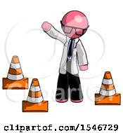 Pink Doctor Scientist Man Standing By Traffic Cones Waving