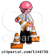 Pink Doctor Scientist Man Holding A Traffic Cone