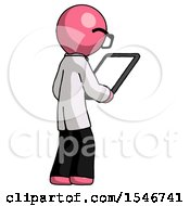 Pink Doctor Scientist Man Looking At Tablet Device Computer Facing Away