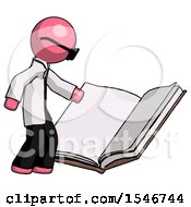 Poster, Art Print Of Pink Doctor Scientist Man Reading Big Book While Standing Beside It