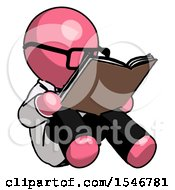 Poster, Art Print Of Pink Doctor Scientist Man Reading Book While Sitting Down