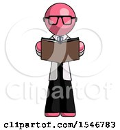 Poster, Art Print Of Pink Doctor Scientist Man Reading Book While Standing Up Facing Viewer