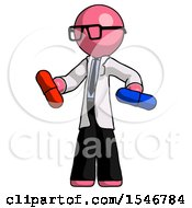Pink Doctor Scientist Man Red Pill Or Blue Pill Concept