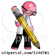 Pink Doctor Scientist Man Writing With Large Pencil