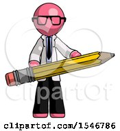 Pink Doctor Scientist Man Writer Or Blogger Holding Large Pencil
