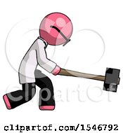 Pink Doctor Scientist Man Hitting With Sledgehammer Or Smashing Something