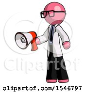 Pink Doctor Scientist Man Holding Megaphone Bullhorn Facing Right