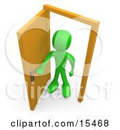 Green Figure Standing In An Open Doorway Uncertain Of Whether Or Not To Enter Symbolizing Opportunity