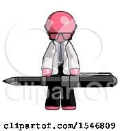 Pink Doctor Scientist Man Weightlifting A Giant Pen