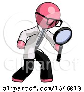 Pink Doctor Scientist Man Inspecting With Large Magnifying Glass Right