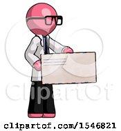 Pink Doctor Scientist Man Presenting Large Envelope