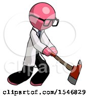 Pink Doctor Scientist Man Striking With A Red Firefighters Ax