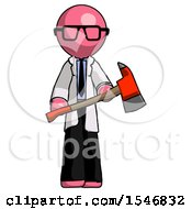 Pink Doctor Scientist Man Holding Red Fire Fighters Ax