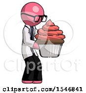 Pink Doctor Scientist Man Holding Large Cupcake Ready To Eat Or Serve