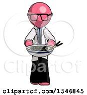 Pink Doctor Scientist Man Serving Or Presenting Noodles