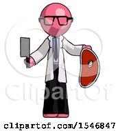 Pink Doctor Scientist Man Holding Large Steak With Butcher Knife