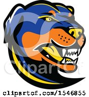 Clipart Of A Tough Angry Rottweiler Dog Mascot Head Royalty Free Vector Illustration