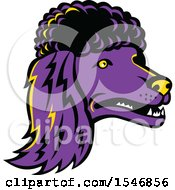 Clipart Of A Purple Poodle Dog Mascot Head Royalty Free Vector Illustration by patrimonio