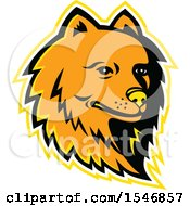 Clipart Of A Pomeranian Dog Mascot Head With A Yellow Outline Royalty Free Vector Illustration by patrimonio