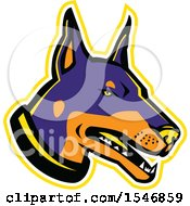 Clipart Of A Doberman Pinscher Dog Mascot Head With A Yellow Outline Royalty Free Vector Illustration by patrimonio