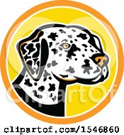 Clipart Of A Dalmatian Dog Mascot Head In A Yellow And Orange Circle Royalty Free Vector Illustration by patrimonio