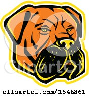 Clipart Of A Bullmastiff Dog Mascot Head With A Yellow Outline Royalty Free Vector Illustration by patrimonio